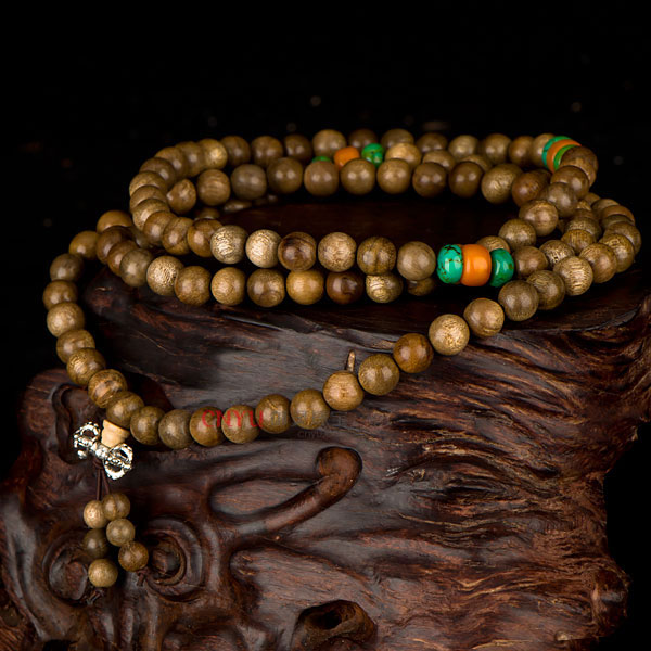【御灵珠宝】天然金丝楠木108水沉念珠佛珠手链