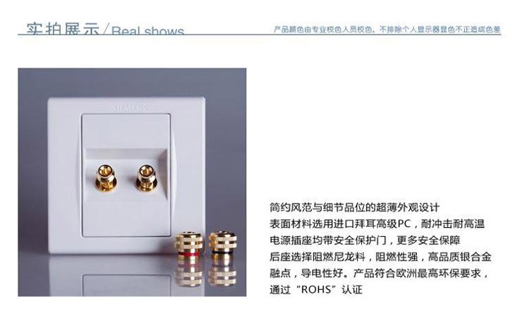 西门子5tg0635-1nc01品宜双接线柱音响插座