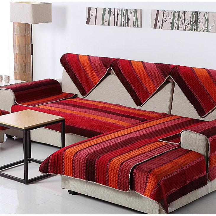 逸墅 沙发垫 拼接 布艺 飘窗垫欧式 彩色条纹(红色 90