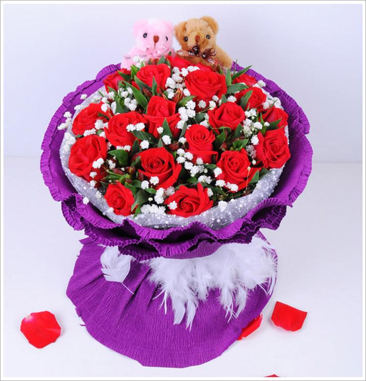 爱唯一红玫瑰生日礼品礼物花束全国鲜花速递北京上海