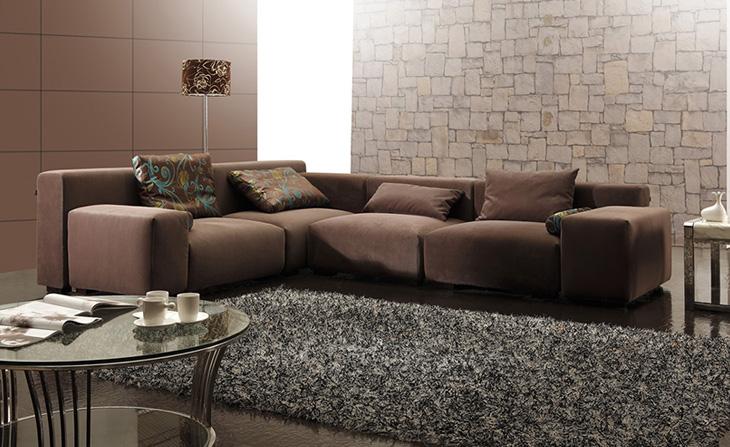 尊贵款咖啡色细绒布艺转角组合沙发
