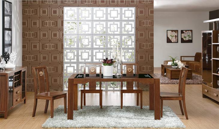 中式现代简约实木餐厅组合套装