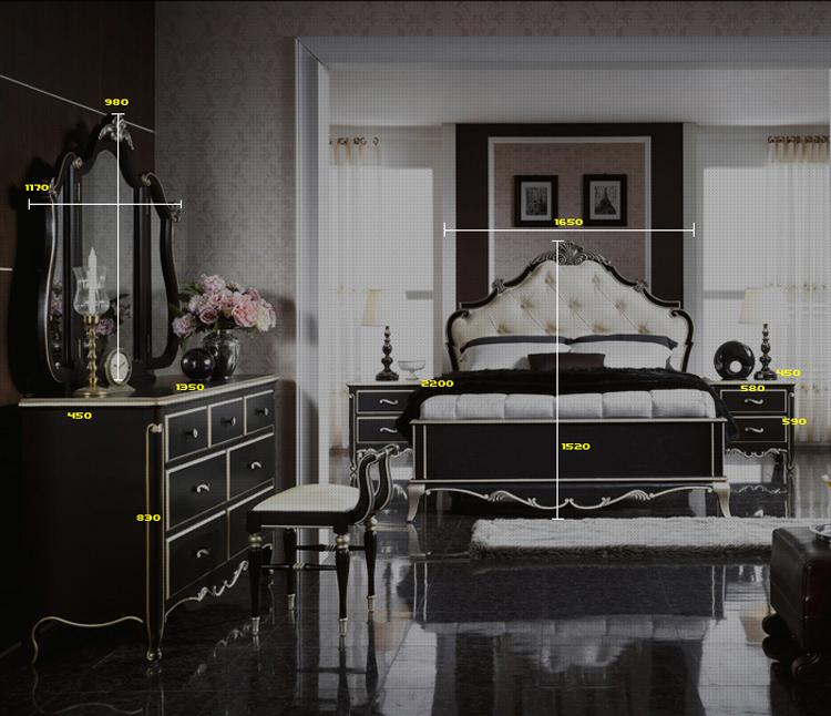 欧式黑色经典卧室床边储物柜
