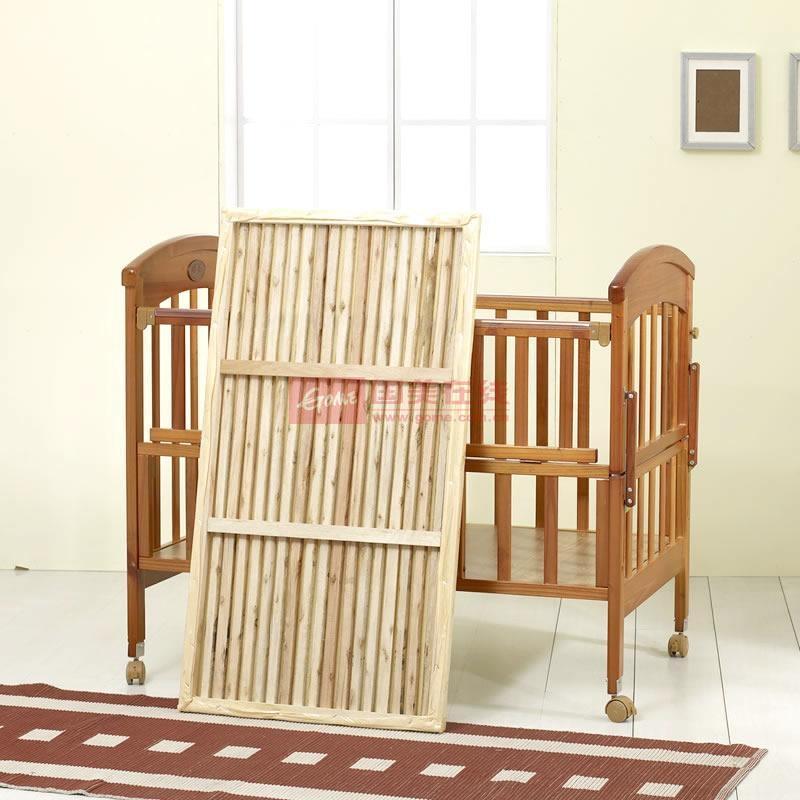 硕士绿樱桃木婴儿床 实木儿童床 带摇床 送蚊帐