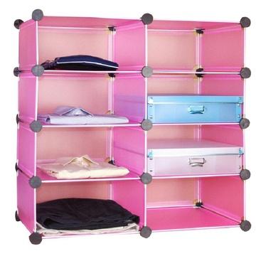蔻丝diy创意魔片 衣柜收纳架 衣柜整理架 免工具安装特价宜家 樱花红