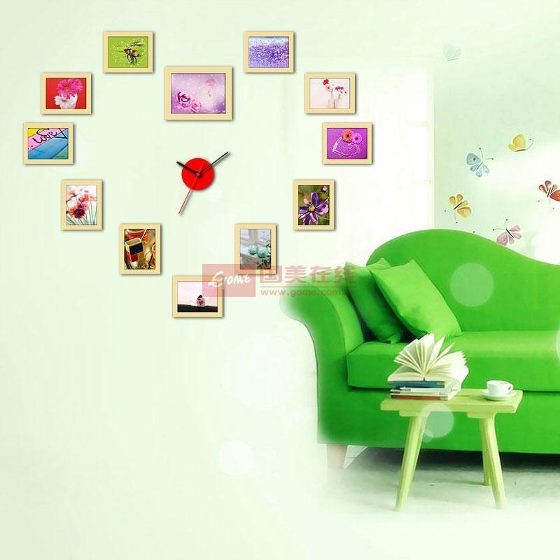 润格12框心形挂钟照片墙 欧式创意组合相框墙 婚纱照相片墙原木色组合