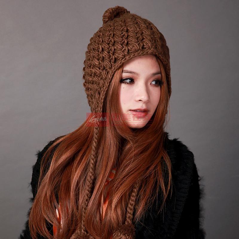 deniso冬帽女士手工编织帽护耳帽针织帽子ds