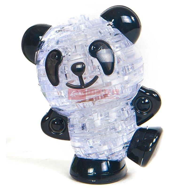 永骏闪光熊猫水晶积木礼物礼品 塑料拼插立体拼图发光