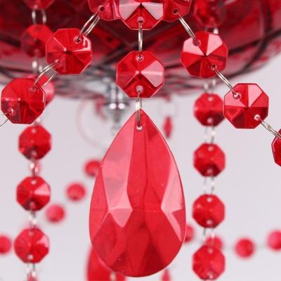 埃弗顿md9133-8水晶吊灯 欧式婚庆红色水晶灯 餐厅吊灯卧室 红色拉丝