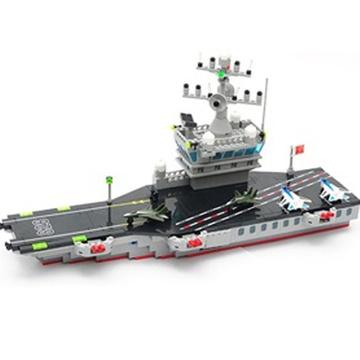 启蒙乐高式拼装儿童玩具826大型航空母舰 南海艇队保家卫国 508块