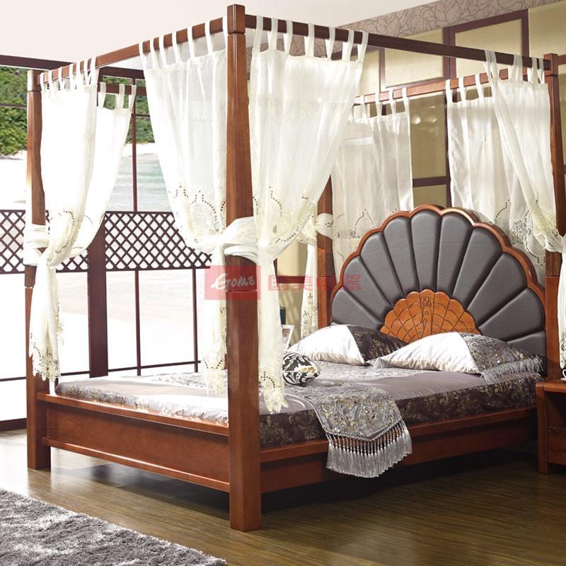 东南亚风格新中式纯实木楸木孔雀床屏真皮大床