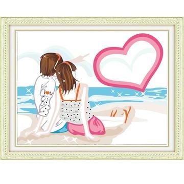 华庭丽娜数字油画 diy手绘装饰画无框画 海边爱人 情侣人物系列装饰画