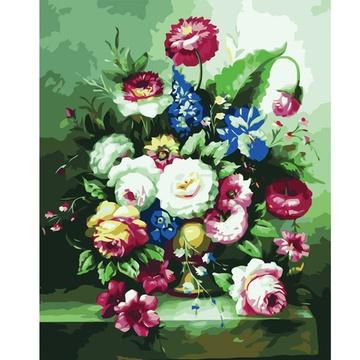 华庭丽娜diy数字油画 手绘无框画 花容(花瓶四)60x80cm装饰画艺术培养