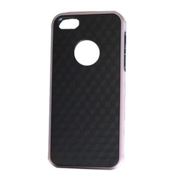 贝币(bb)苹果iphone5糖果色外框 手机壳 白底3d纹 黑底3d(黑色粉框