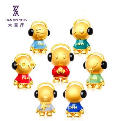 天鑫洋 黄金吊坠 音乐宝贝 彩色版 可爱娃娃系列(开心 约3.1克)