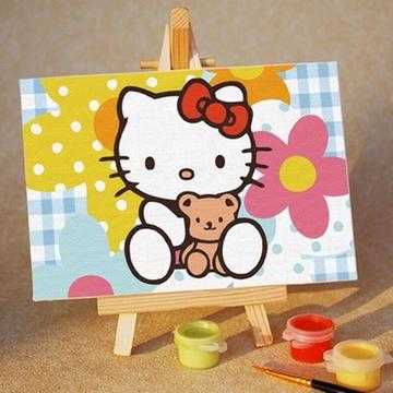 华庭丽娜diy数字油画 10x15 可爱kitty 学习绘画简单容易画