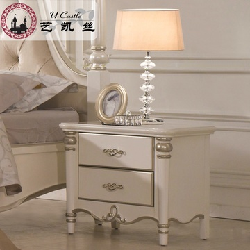 艺凯丝 法式奢华浪漫床头柜 欧式实木床边储物柜 卧室