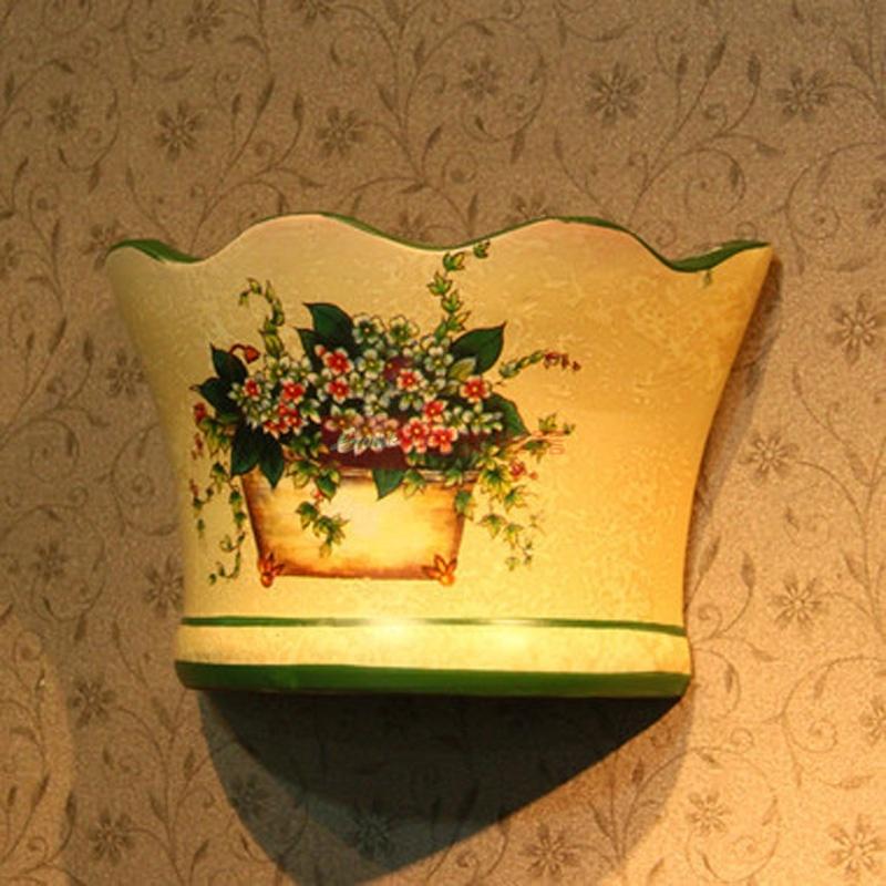 绿边水纹 壁挂式手绘陶瓷花插 花瓶 欧式田园风jh018381 ajh40艾可思