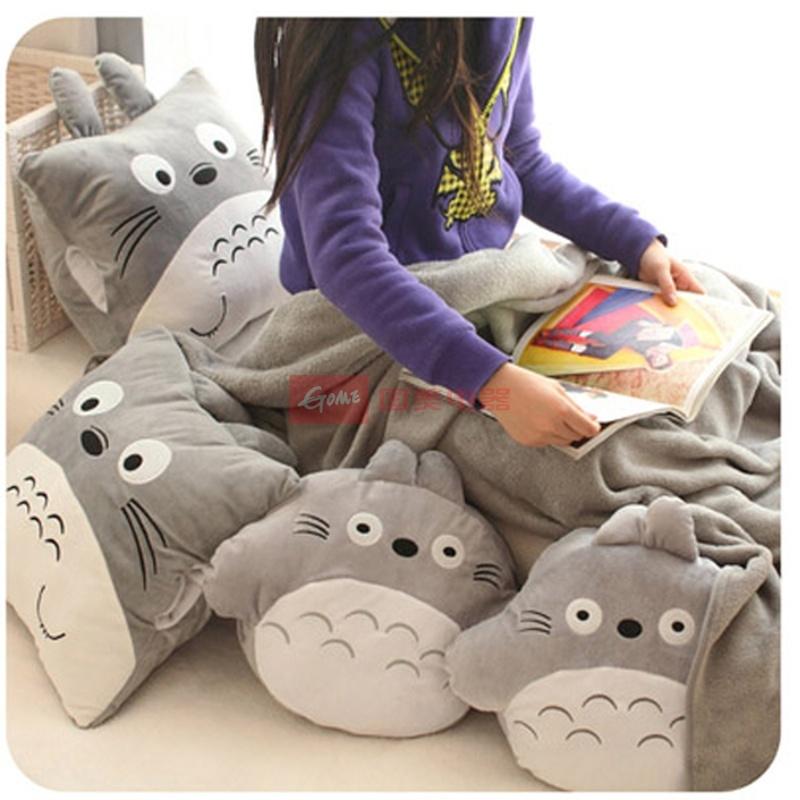 【庐星娃娃玩具长方形手捂图片】可爱龙猫空调毯暖手
