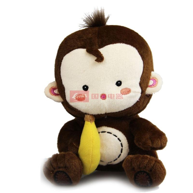 可爱小猴子毛绒玩具公仔 香蕉猴猩猩车饰 布娃娃 生日礼物(深棕色)
