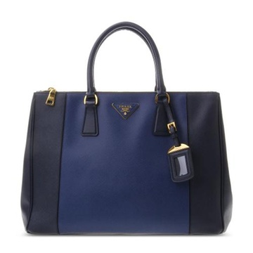 黑/藏蓝拼色皮质手提包