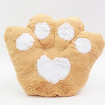 大眼猫 可爱卡通爪子熊掌坐垫抱枕靠垫大号毛绒熊爪抱枕靠背坐垫(浅棕