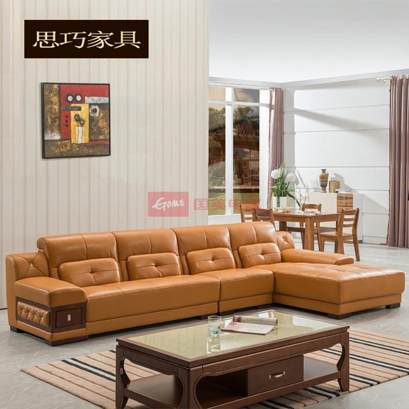 思巧 实木厚皮沙发 客厅转角头层牛皮欧式沙发 真皮沙发组合(图片色