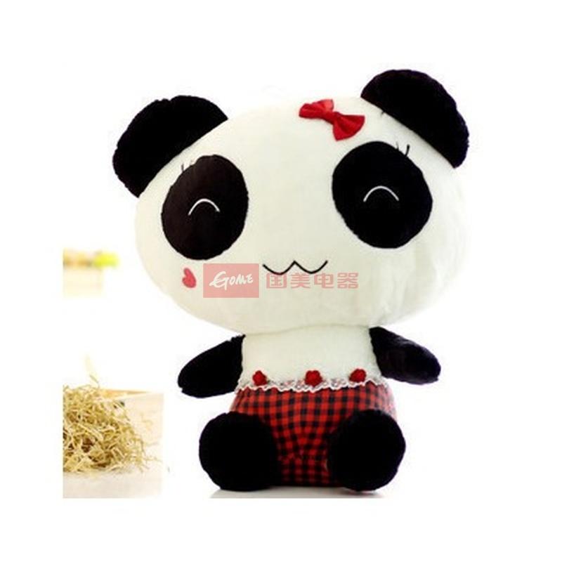 可爱熊猫 公仔 毛绒玩具 布娃娃 熊熊(红色格子 30cm)