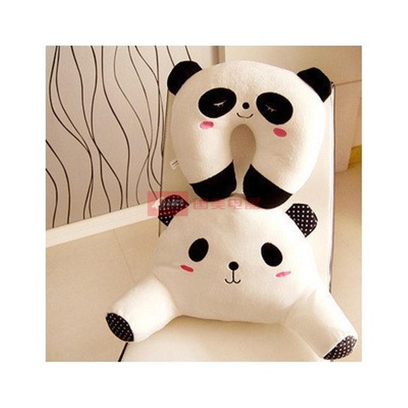【恋儿宝贝如图毛绒/布艺黑白熊猫腰靠 u枕图片】可爱