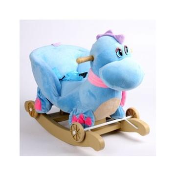 儿童早教 玩具礼物大象 摇摇马木马宝宝婴儿 摇椅带音乐(蓝色恐龙 60*