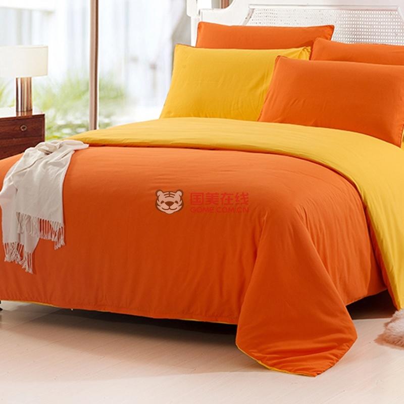 橙颜色的欧式床