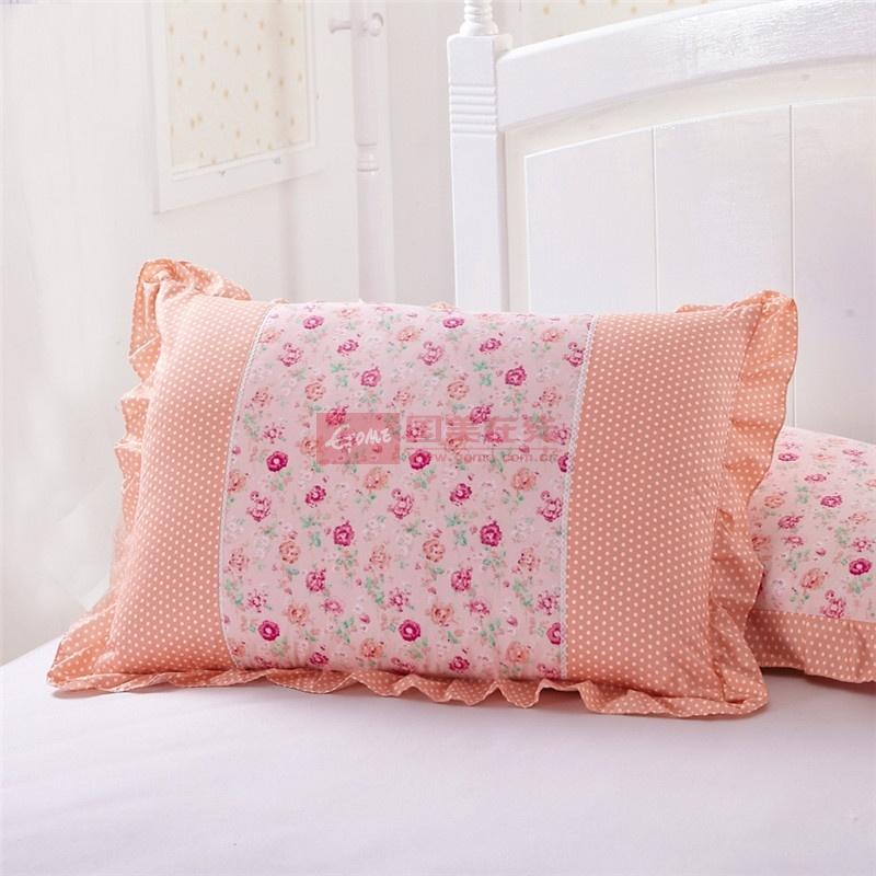 花语公主润肤棉枕套 韩式碎花斜纹枕头套枕罩花边 一2