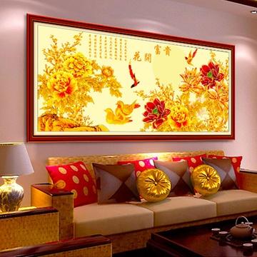 美岸最新款3d精準印花十字繡客廳大幅花開富貴鉆石畫圓鉆貼鉆系列