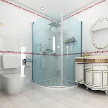 欧式仿古墨绿色瓷砖拼花卫生间装修效果图