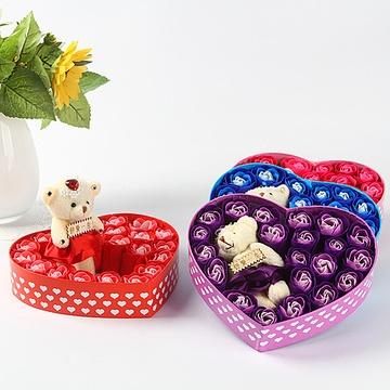 趣玩18朵玫瑰花小熊礼盒香皂 光棍节表白送女友情人节