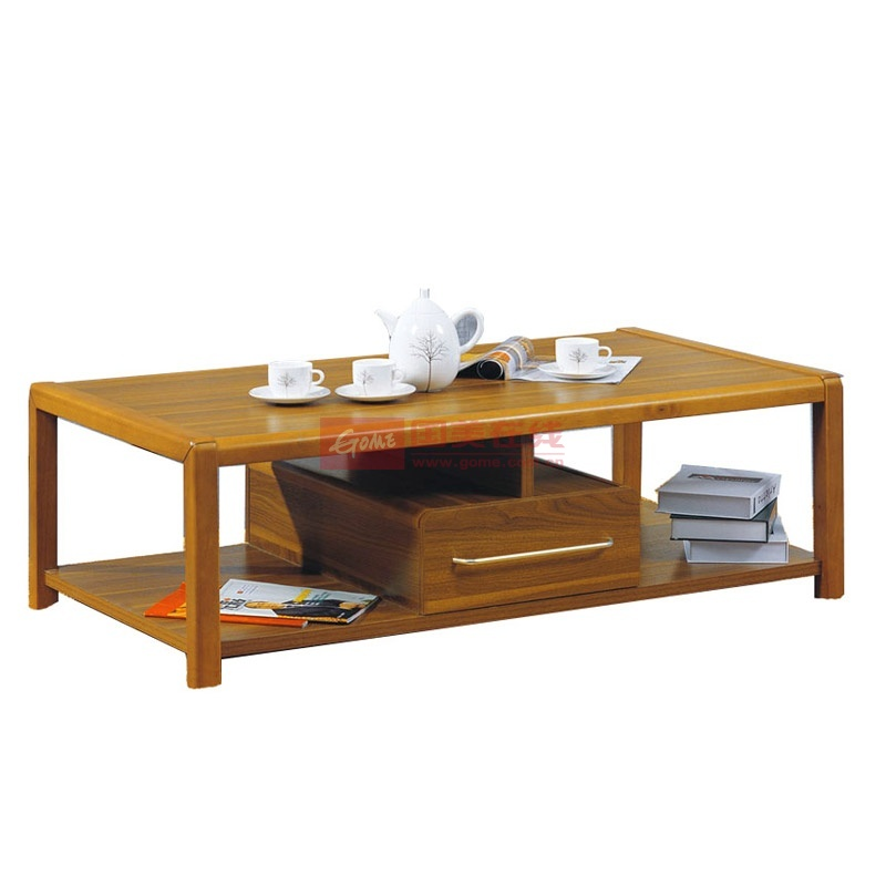 派森家具 框架实木 茶桌边几带储物抽屉柜 长茶几 ps