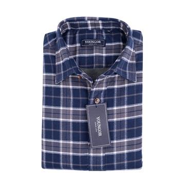 雅戈尔男士专柜新款法兰绒格子保暖长袖衬衫(蓝格子-15125 39)