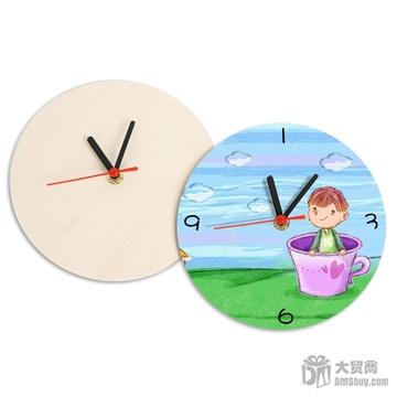 大贸商 自绘挂钟 时钟 儿童涂画彩绘 木制手工 白模上色diy ex10138