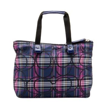 正品coach蔻驰女士紫色格子帆布手提包f76354