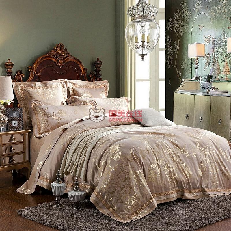 玛西亚13372全棉欧式蕾丝四件套贡缎天丝纯棉四件套提花床品全棉4件套