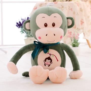安吉宝贝可爱嘻哈猴毛绒玩具猴子布娃娃玩偶公仔(绿色呆萌猴 80cm)