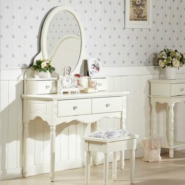 【京好】梳妆台镜子套装a102 卧室欧式实木化妆桌椅 现代简约雕花家具