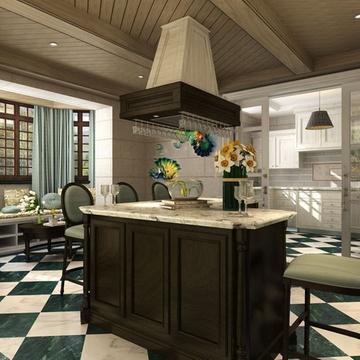 东易日盛 温州原创店 别墅装修设计 室内家庭装修 美式风格装修效果图
