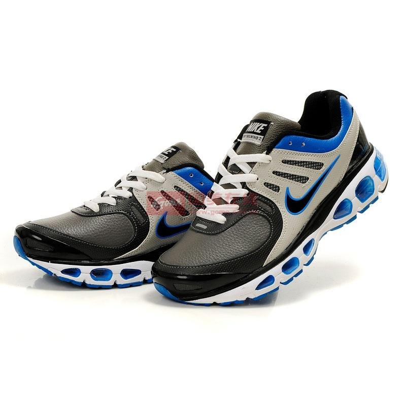 耐克2010air max nike 20k4代5代网面皮面跑步运动休闲鞋(灰兰 43)