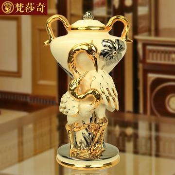 梵莎奇欧式陶瓷花瓶奢华仙鹤花器玄关摆设家居客厅饰品别墅摆件