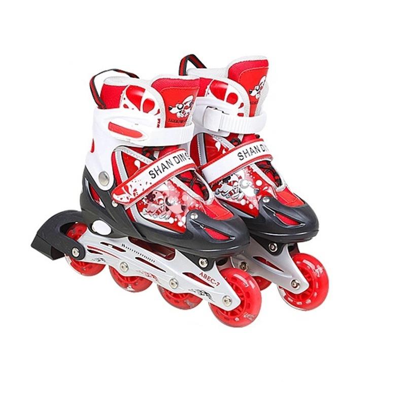 中滑溜冰鞋儿童套装轮滑鞋全套旱冰鞋滑冰鞋直排可调