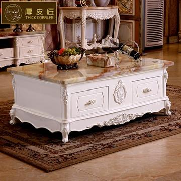 欧式茶几电视柜组合 法式天然大理石象牙白实木雕花定制茶(白玉石