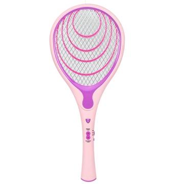 雨花泽(yuhuaze) 时尚天使充电式带led灯电子灭蚊拍 电蚊拍 三层保护