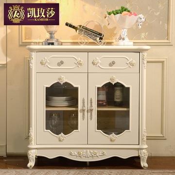 凯玫莎家具 欧式餐边柜实木餐柜法式田园白色碗橱特价