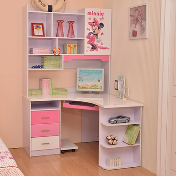 双明宝贝 儿童房书桌带书架组合转角电脑桌书柜多功能